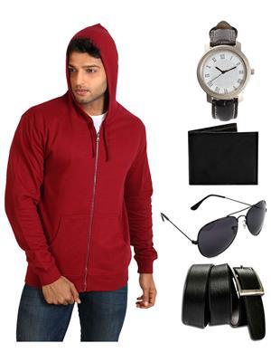 Ansh Fashion Wear SW-3A-WPBS Men Sweatshirt,Watch,Wallet,Sunglass With Belt