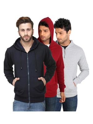 Ansh Fashion Wear SW-3CM-DB-M Multicolored Men Sweatshirt Set Of 3