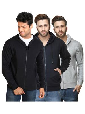 Ansh Fashion Wear SW-BLK-DB-GRY Multicolored Men Sweatshirt Set Of 3
