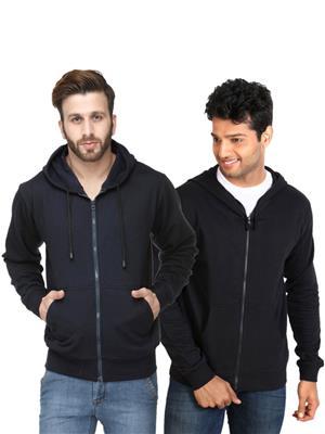 Ansh Fashion Wear SW-Dbl Black-Blue Men Sweatshirt Set Of 2