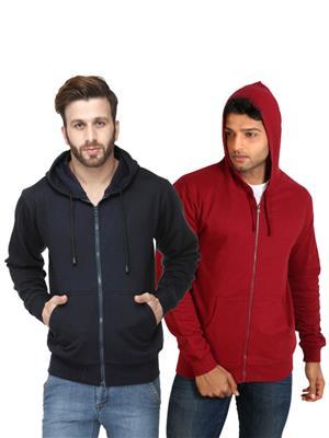 Ansh Fashion Wear SW-DB-m Maroon-Blue Men Sweatshirt Set Of 2