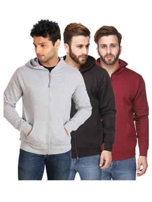 Ansh Fashion Wear SW-GRY-BLK-MA Multicolored Men Sweatshirt Set Of 3