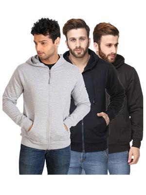 Ansh Fashion Wear SW-GRY-DB-BLK Multicolored Men Sweatshirt Set Of 3