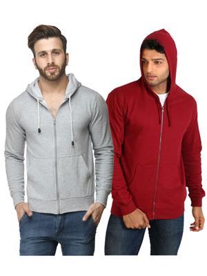 Ansh Fashion Wear SW-Gm Grey-Maroon Men Sweatshirt Set Of 2