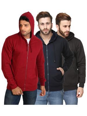 Ansh Fashion Wear SW-MAROON-DB-BLK Multicolored Men Sweatshirt Set Of 3