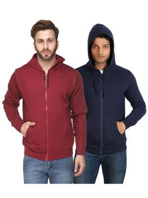 Ansh Fashion Wear SW-Mdb Maroon-Blue Men Sweatshirt Set Of 2