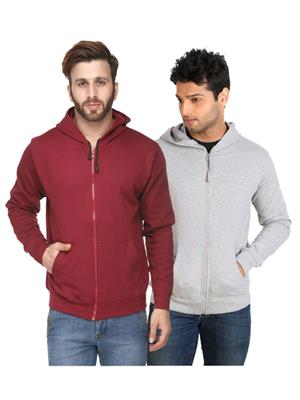 Ansh Fashion Wear SW-gmr Grey-Maroon Men Sweatshirt Set Of 2
