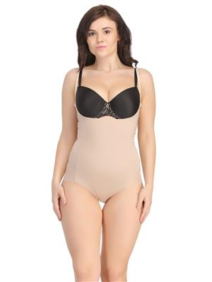 Clovia Body Suit In Skin With Detachable Straps