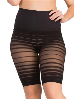 Clovia Waist Cincher In Black With Striped Thigh Shaper