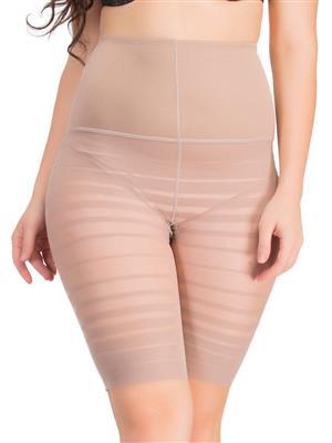 Clovia Waist Cincher In Skin With Striped Thigh Shaper