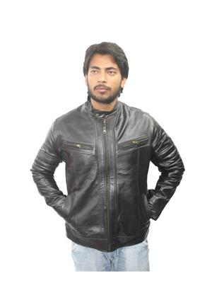 Tarana Leather Art T-A black Men Jacket