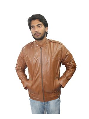 Tarana Leather Art T-D Brown Men Jacket