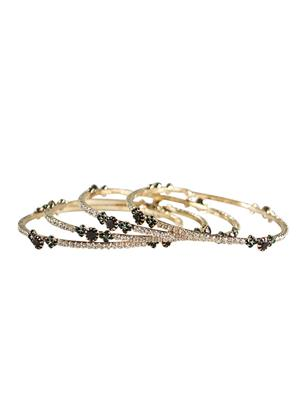 Traditional 2 Trendy T2T140598 White Women Stone Alloy Metal Handwork Bangle