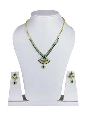 Traditional 2 Trendy T2T417827 Green Women Alloy Metal Handwork Necklace Set