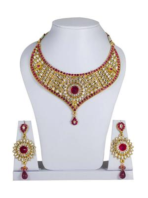 Traditional 2 Trendy T2T779681 Red Women Alloy Metal Handwork Necklace Set