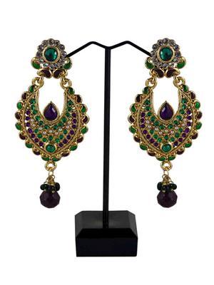 Traditional 2 Trendy T2T829697 Violet Women Alloy Metal Handwork Earring