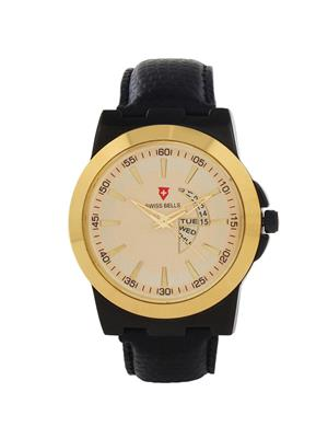 Swiss Bells  TA-619GDBlkStrap Gold Men Analog Watch