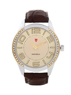 Swiss Bells  TA-627GDBrnStrap Gold Men Analog Watch