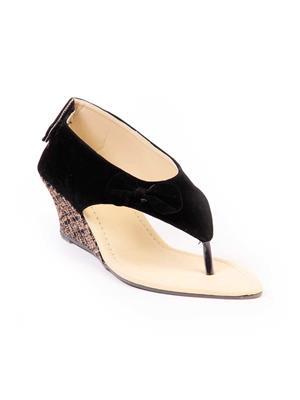 TEN TENSlpwgblk03 Black Women Sandal