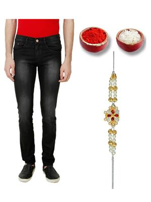 Ansh Fashion Wear TJ-BLK-MONKEY-RKH Black Men Jeans With Rakhi