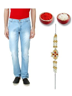 Ansh Fashion Wear TJ-CM-3-RKH Blue Men Jeans With Rakhi