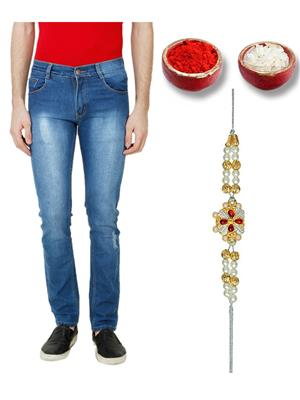 Ansh Fashion Wear TJ-H-TUNG-C-2-RKH Blue Men Jeans With Rakhi