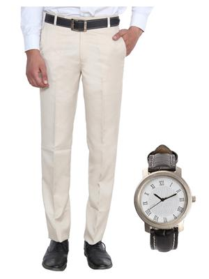 Ansh Fashion Wear TJ-MTR-1 White Men Trouser With Watch