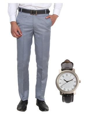 Ansh Fashion Wear TJ-MTR-2 Grey Men Trouser With Watch