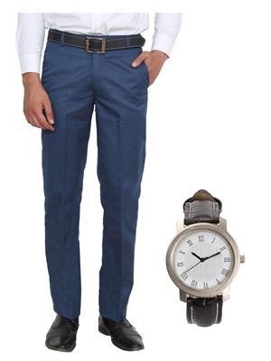 Ansh Fashion Wear TJ-MTR-3 Blue Men Trouser With Watch