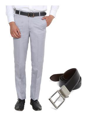 Ansh Fashion Wear TJ-MTR-4-REVBELT Grey Men Trouser With Belt