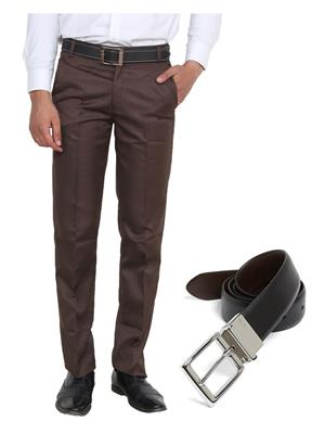 Ansh Fashion Wear TJ-MTR-5-REVBELT Brown Men Trouser With Belt