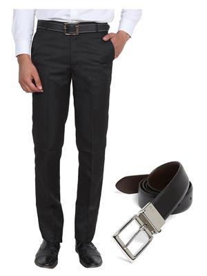 Ansh Fashion Wear TJ-MTR-6-REVBELT Black Men Trouser With Belt