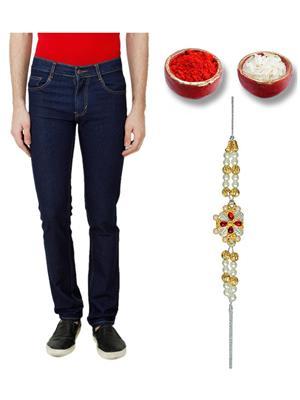 Ansh Fashion Wear TJ-RP-1-RKH Blue Men Jeans With Rakhi