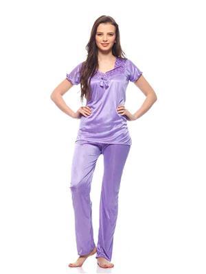 Turnpike TP-Deep Pur T&P-01 Deep Purple Women Night Suit-Top & Payjama
