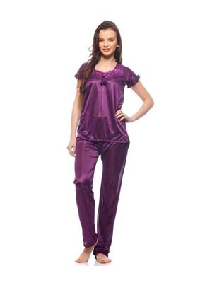Turnpike TP-Drk Pur T&P-01 Dark Purple Women Night Suit-Top & Payjama