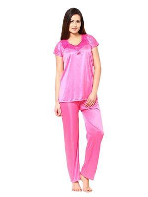 Turnpike TP-Light Pnk T&P-01 Pink Women Night Suit-Top & Payjama
