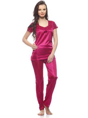 Turnpike TP-Mgt T&P-01 Magenta Women Night Suit-Top & Payjama