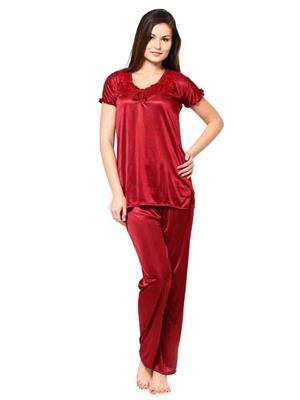 Turnpike TP-Mrn T&P-01  Maroon Women Night Suit-Top & Payjama