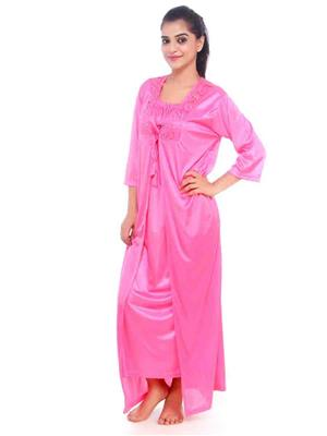 Turnpike TP-Robe-Light Pnk-01 Light Pink Women Nighty Set With Robe
