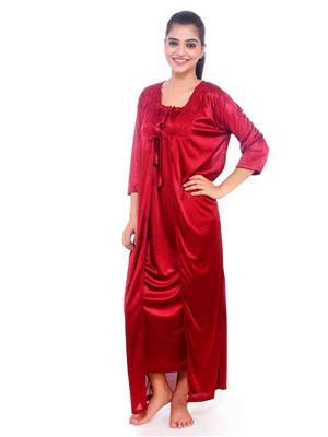 Turnpike TP-Robe-Mrn-01 Marron Women Nighty Set With Robe