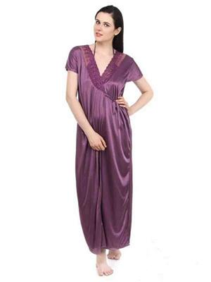 Turnpike TP-Robe-Pur-01 Purple Women Nighty Set With Robe