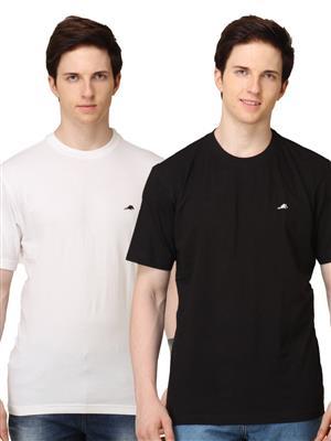 2go TSC008 Black/White 2 Combo Round Neck Men T-shirt