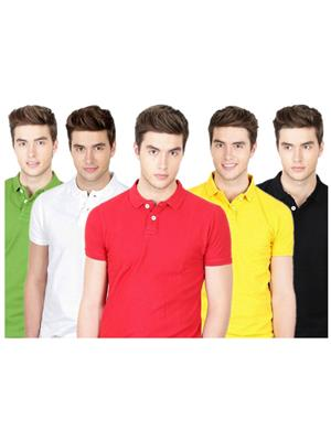 Ansh Fashion Wear TS-5CM-1-1 Multicolored Men t-Shirt Set Of 5