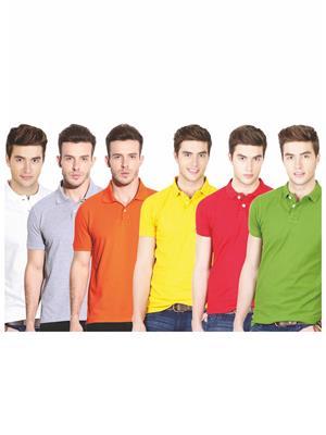 Ansh Fashion Wear TS-6CM-2-1 Multicolored Men t-Shirt Set Of 6