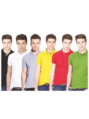 Ansh Fashion Wear TS-6CM-3-1 Multicolored Men t-Shirt Set Of 6