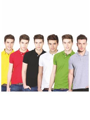 Ansh Fashion Wear TS-6CM-4-1 Multicolored Men t-Shirt Set Of 6