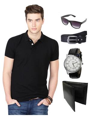 Ansh Fashion Wear TS-WPBS-1 BLACK Men T-Shirt Combo Pack