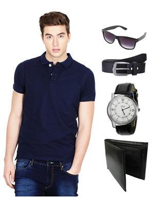 Ansh Fashion Wear TS-WPBS-1 Blue Men T-Shirt Combo Pack