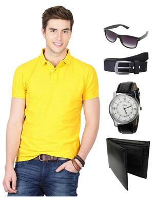 Ansh Fashion Wear TS-WPBS-1 Yellow Men T-Shirt Combo Pack