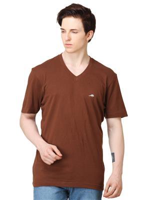 2GO TS004 Brown V Neck Men T-Shirt